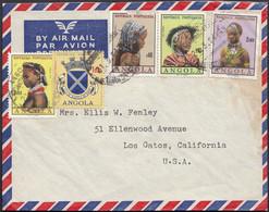 Angola - Portuguese Colony, Air Mail Cover, Tipos Indigenas. Angola 21.3.1964 - Los Gatos, USA. - Angola