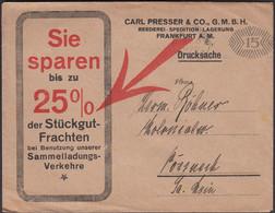 Germany - Werbebrief. 'Carl Presser & Co. Reederei - Spedition, Frankfurt'. Freistempel ALTONA 1921 - Pössneck. - Covers & Documents