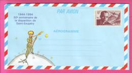 FRANCE AEROGRAMME AER 1021 SAINT EXUPERY LE PETIT PRINCE  NEUF  MILITAIRE ECRIVAIN  AVIATEUR JOURNALISTE B/TB - Aérogrammes