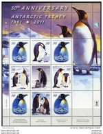 Marshall Isl. 2011. Mi.#2778/83 MNH/Luxe. 50 Years Antarctic Treaty. Birds. Penguins (Ts05) - Fauna Antártica