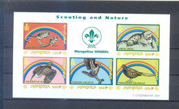 MONGOLIA 2001 SHEET IMPERFORED SCOUTING AND NATURE    MNH - Mongolië