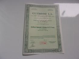 GUTBROD (certificat D'actions 25 Francs) Macon , Saone Et Loire - Sin Clasificación