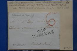 D94 ESPAGNE BELLE LETTRE RARE  1817 CASTILLA NEUVA CANA  TEMBLEQUE  POUR CIUDAD REAL  + TAXE ROUGE  + AFFR.  INTERESSANT - ...-1850 Prephilately