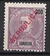 """Portugal Zambezia Mozambique 1917 """"D. Carlos I Republica"""" Local Surcharge Condition MH NG #99 (200c) - Zambezië"""