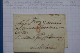 D94 ESPAGNE BELLE LETTRE   1824 CASTILLA NEUVA CANA  TEMBLEQUE   POUR SOLANA+ TAXE ROUGE  + AFFR.  INTERESSANT - ...-1850 Préphilatélie