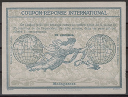 MADAGASCAR 1910, FirstRome Type Ro430 Centimes International Reply Coupon Reponse Antwortschein IAS IRC  Mint ** - Covers & Documents