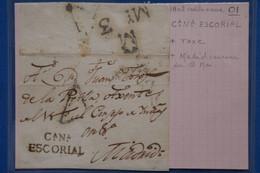 D94 ESPAGNE BELLE LETTRE DEVANT  1802  CASTILLA NEUVA CANA ESCORIAL POUR   MADRID    + AFFR.  INTERESSANT - ...-1850 Préphilatélie