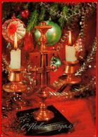 15579 Dergilev Happy New Year Candlestick Candle Fire Hb 1983 Christmas Toys Decorations Christmas Balls DMPK USSR - Giochi, Giocattoli