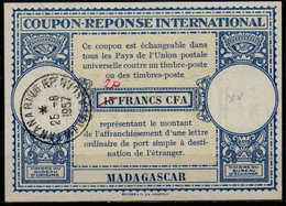 MADAGASCAR Lo15 20 / 15 FRANCS CFA International Reply Coupon Reponse IAS IRC Antwortschein O TANANARIVE 25.6.57 - Covers & Documents