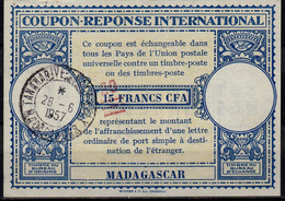 MADAGASCAR Lo15 Handstamp 20 / 15 FRANCS CFA Int. Reply Coupon Reponse IRC Antwortschein O TANANARIVE 28.6.57 - Covers & Documents