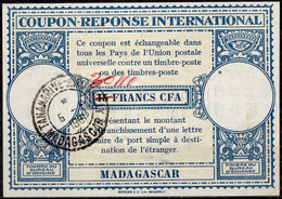 MADAGASCAR Lo15 ms 40 / 30 / 15 FRANCS CFA International Reply Coupon Reponse IRC Antwortschein O TANANARIVE 06.05.61 - Covers & Documents