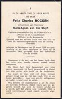 KAPITEIN COMMANDANT RIJKSWACHT  - FELIX BOCKEN  OORDEGEM  1909  GENT 1969 - Avvisi Di Necrologio