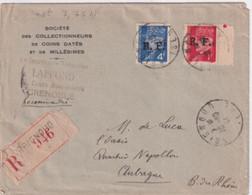 1944 - LIBERATION - TIMBRE PETAIN SURCHARGE Sur ENVELOPPE RECOMMANDEE De BRIGNOUD (ISERE) => AUBAGNE - WW II