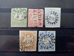BAVIERE.1867 - 69 .  N° 15  à  19.  5 Oblitérés . Côte YT 2020 : 122,00 € - Bavière