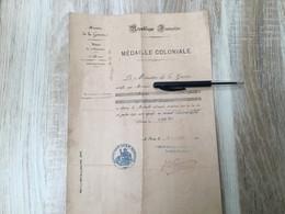 DIPLOME MEDAILLE COLONIALE DU 4 REGIMENT ETRANGER. (LEGION ETRANGERE) - Francia