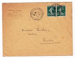 Lettre Paire Semeuse 5c Lille Nord Place Saint-Martin 1910 Maurice Gand Avocat - 1903-60 Sower - Ligned