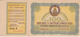 BILLETE-VALE DE RUMANIA DE 100 LEI DE COOPERATIVA DE CONSUM RPR (BANKNOTE) - Rumania
