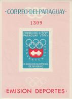 PARAGUAY - BLOC N°49 ** NON DENTELE (1963) Jeux Olympiques à Innsbruck 1964 - Paraguay