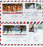 Lot De 2 Lettres POLYNESIE FRANCAISE - Enveloppes Touristiques - Storia Postale