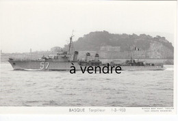 BASQUE  Torpilleur 1-3-1933 - Warships