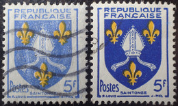 R1507/770 - 1954 - BLASON De La SAINTONGE - N°1005 ☉ - VARIETE ➤➤➤ Fond De L'écusson Bleu Très Pâle - Varieties: 1950-59 Used