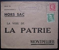 La Malou Les Bains 1948 Ch Massol Librairie Du Centre Lettre Hors Sac De La Voix De La Patrie, Pour Montpellier - 1921-1960: Modern Tijdperk