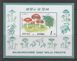 BLOC NEUF DE COREE DU NORD - GOMPHIDUS ROSEUS ET DIOSPYROS LOTUS N° Y&T 58 - Mushrooms