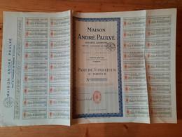 Maison André Paulvé (Cinéma: La Belle & La Bête...) Part De Fondateur De 1937 - 1 Action  / Bond  -- 36  Coupons ( Compl - Sin Clasificación