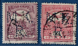 2106.1928 Hungary 1908 35 & 50 F Perfin M.K. R. Magyarorszag, Hongrie, Ungarn - Used Stamps