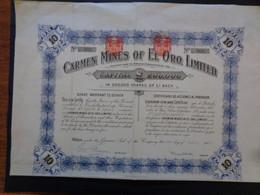 CARMEN MINES OF EL ORO - TITRE DE 10 ACTIONS DE 1 LIVRE STERLING - LONDRES 1909 - PEU COURANT - Sin Clasificación