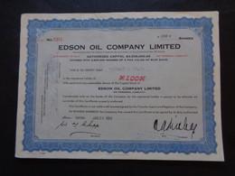 CANADA - ONTARIO 1963 - EDSON OIL COMPANY - TITRE DE 100 ACTIONS DE 1 £ - Sin Clasificación
