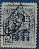 2106.1930 Romania 1908 25 F Carol I  Double-line Perfin RICH. / GRAEPEL. - Used Stamps