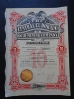 USA - ARIZONA, PHOENIX 1910 - THE CENTRAL EL DORADO GOLD MINING - TITRE DE 10 ACTIONS DE 1 $ - PEU COURANT - Sin Clasificación