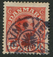 "Faroe Island Christian 10th 10 Ore Red Fine Used With Vestmanna / Vestmanhavn Stj ""Star"" Cancel - Isole Faroer"