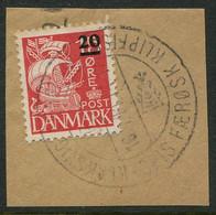 1940 Faroe Islands 20/15ore Caravel Fine Used On Piece With Klaksvig Klipfisk Cancel - Isole Faroer