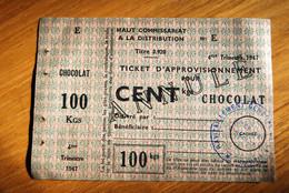 Rationnement - Ticket Approvisionnement Chocolat Annulé Rare - Bons & Nécessité