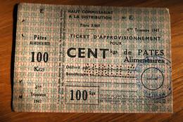 Rationnement - Ticket Approvisionnement Pates Alimentaires Annulé Rare - Bons & Nécessité