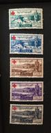 See Photos. 1949 Lebanon Red Cross Semi Postal Air Set SG 358-362 MNH Liban - Lebanon