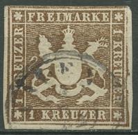 Württemberg 1859 Wappen 1 Kreuzer 11 A Gestempelt, Mängel - Wuerttemberg