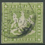 Württemberg 1859 Wappen 6 Kreuzer 13 A Gestempelt, Repariert - Wuerttemberg