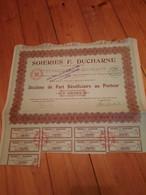 SOIERIES F.  DUCHARNE -1929  -  Dixieme De Part Au Porteur - 1 Action / Bons - Sin Clasificación