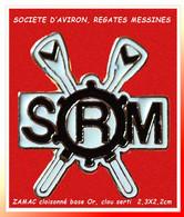 """SUPER PIN'S """"AVIRON"""" : S.R.M SOCIETE AVIRON Et REGATES MESSINES En ZAMAC Cloisonné Base Or 2,3X2,2cm - Canottaggio"""