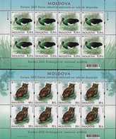 """MOLDAVIA /MOLDOVA /MOLDAWIEN  -EUROPA 2021 -ENDANGERED NATIONAL WILDLIFE""""- TWO SHEETS Of The 8 STAMPS MINT - 2020"""