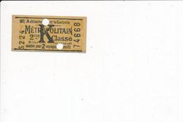 Ticket De Métro Métropolitain K  2me Classe ( Pub Lame De Rasoir Au Dos ) - Europa