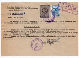 1958. YUGOSLAVIA,BOSNIA,NOO BOS. DUBICA,100 DIN. MUNICIPALITY FISCAL STAMPS,1 STATE REVENUE,CERTIFICATE - Zonder Classificatie