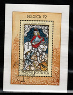 HUNGARY-1972.Souv.Sheet - Belgica'72 Intl.Philatelic Exhibition / Stained-Glass Window Mi.Bl.90 (DH4)  USED!!! - Gebraucht