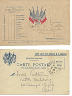 2 Cartes En Franchise Militaire Adréssées à GASTON LOUIS VUITTON  En 1914 - WW I