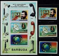 BARBUDA 1976 100 YEARS OF TELEFON MI No 283-5+BLOCK 21 MNH VF!! - Antigua E Barbuda (1981-...)