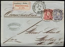 DEUTSCHLAND Einschreibebrief ANNABERG I. SACHSEN  10.02.1876 Nach BERLIN  Saxony - Briefe U. Dokumente