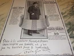 ANCIENNE PUBLICITE CEINTURE DE FRANCK ET BRAUN  SIGNE SACHA GUITRY   1914 - Other